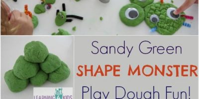 Sandy Green Shape Monsters Play Dough Fun - play activity idea