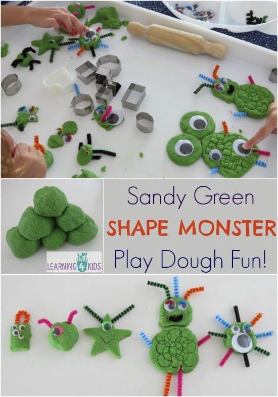 Sandy Green Shape Monsters Play Dough Fun - play activity idea