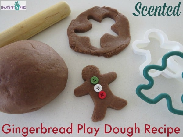 Scented Gingerbread Play Dough Recipe - christmas play dough ideas