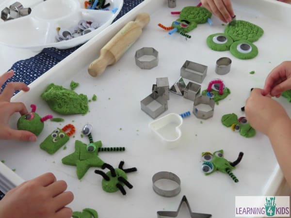 Shapes activities for kids and toddlers - sandy play dough shape monsters