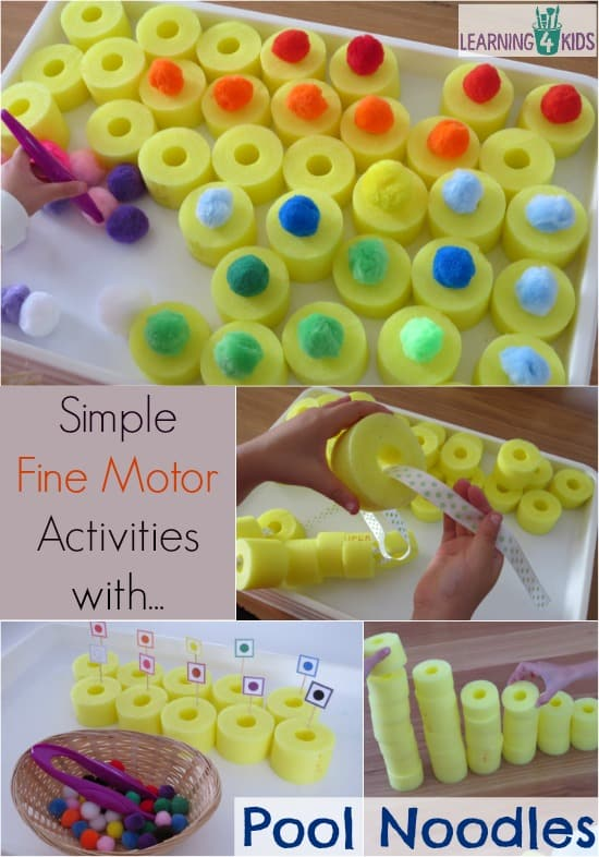 Simple and fun fine motor activities using pool noodles, threading, balancing, matching colours and construction.