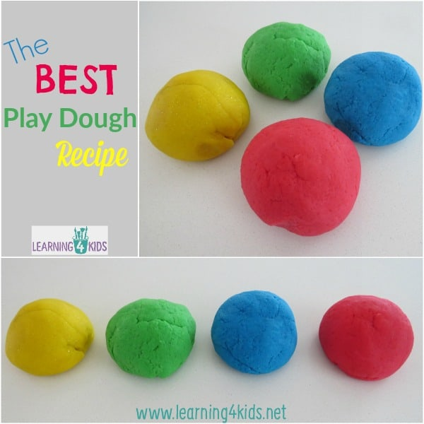Simple, easy to make play dough recipe.  Everyone has a play dough recipe they love, this one is mine!  Turns out great every time!
