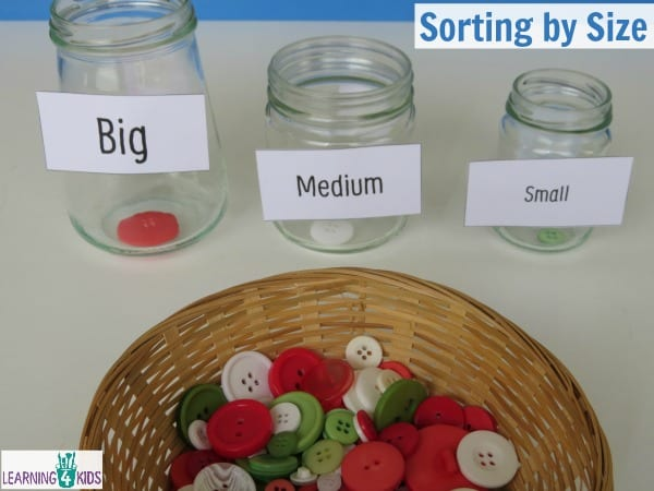 Sorting button by size - measurement activity