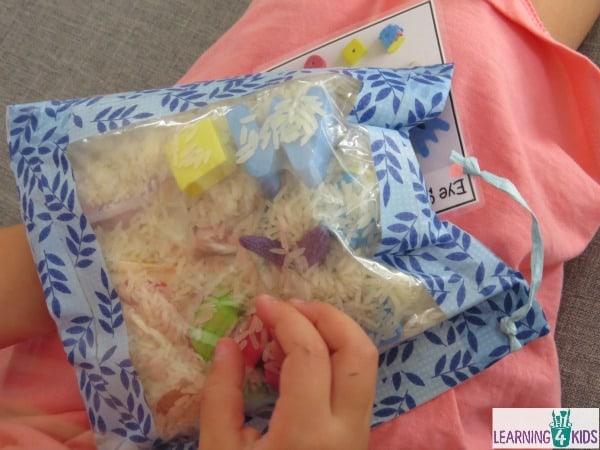 homemade toy - eye spy sensory bag