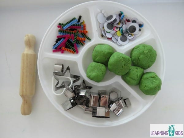 invitation to play with play dough - create play dough shape monsters