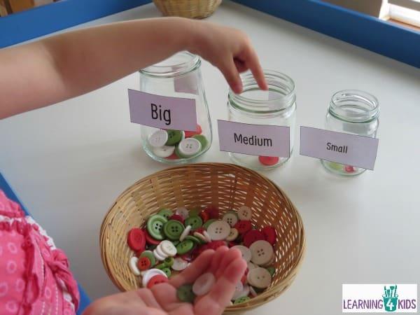 measurement activity - big medium and small sort