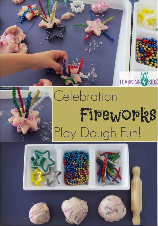 Celebration Fireworks Play dough Fun Activity.  Celebration activities or New year's activities for kids