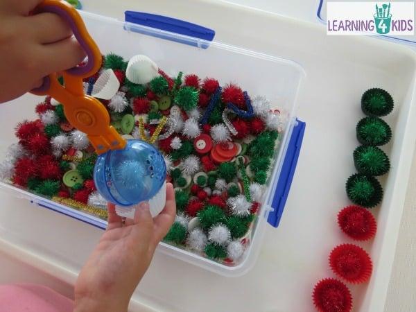 Christmas theme sensory bin ideas.