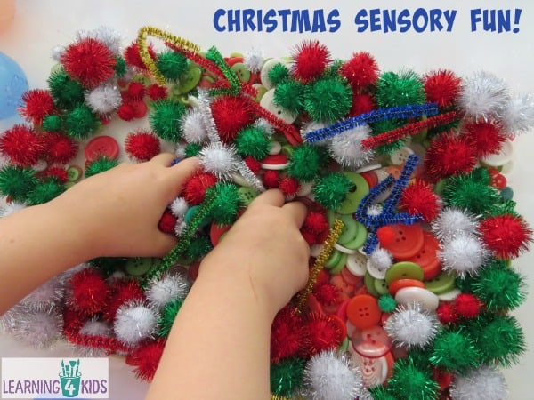 Christmas theme sensory tub.  Create and explore using the items provided.