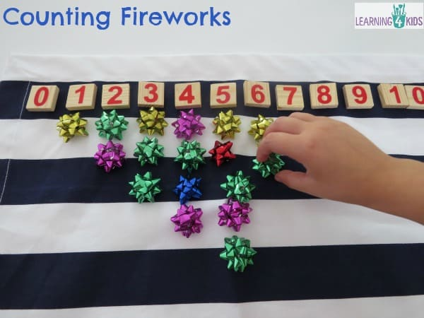 Counting fireworks (bows) - celebration, new years or fireworks theme activity