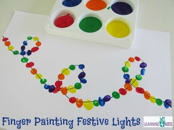 Finger Painting Festive Lights Learning 4 Kids