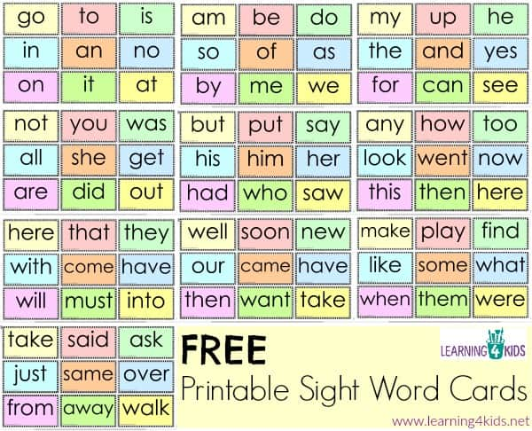 Free Printable Sight Word Cards : Learning 4 Kids