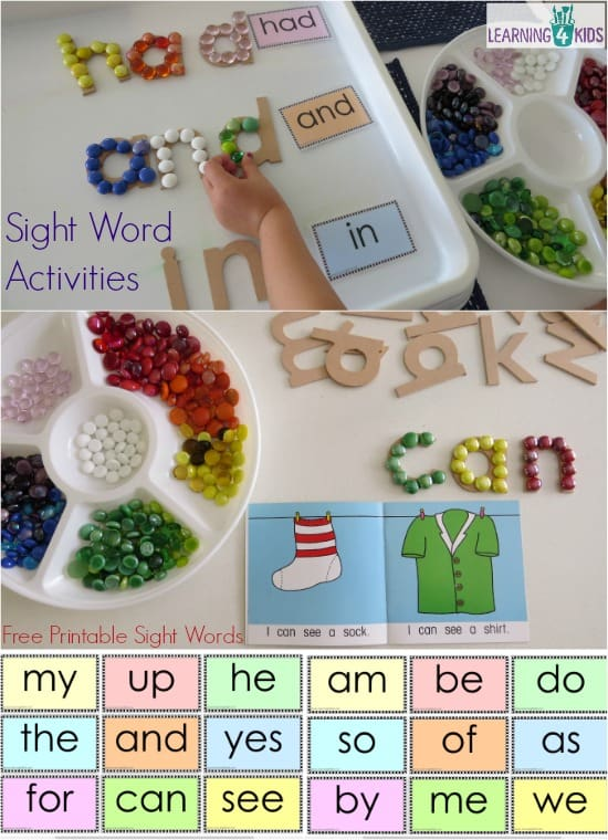Free printable sight word cards and hands-on, interactive sight word activities.