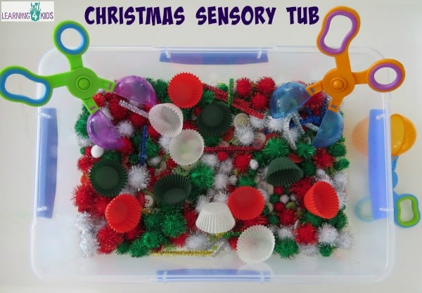 Invitation to play with a Christmas Sensory Tub - Christmas Sensory Activity