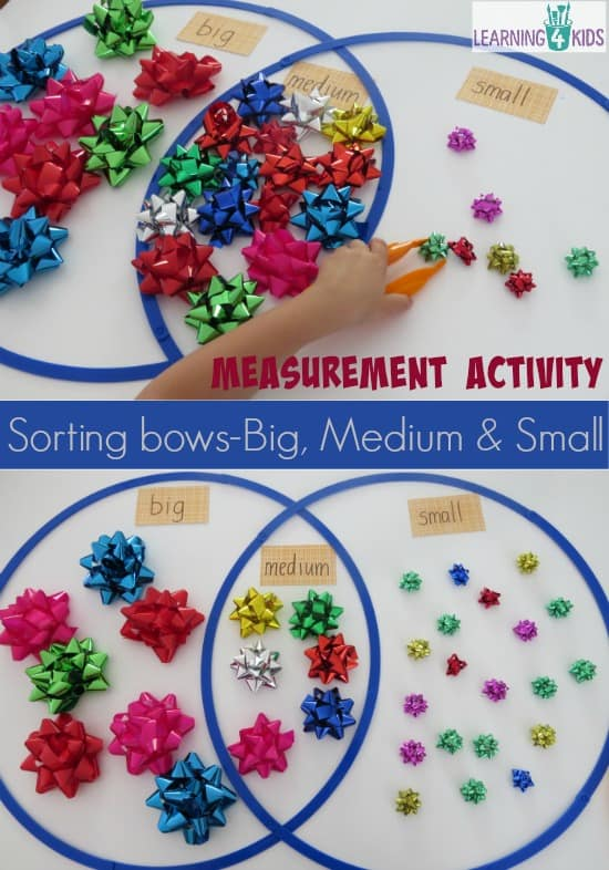 Measurement activity - classifying bows by size big medium and small.  Fireworks (bows) theme maths activity.
