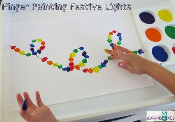 Painting Activity - finger painting festive lights.  Christmas Activity.