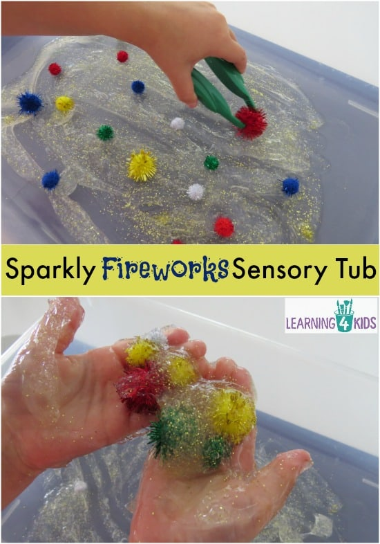 Sparkly Fireworks Sensory Tub