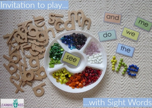 invitation to play with sight words with free printable sight word cards.