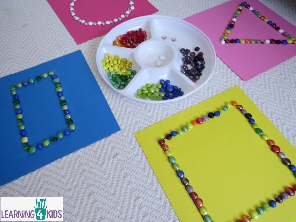 Basic shapes activity for kids using glass gems.
