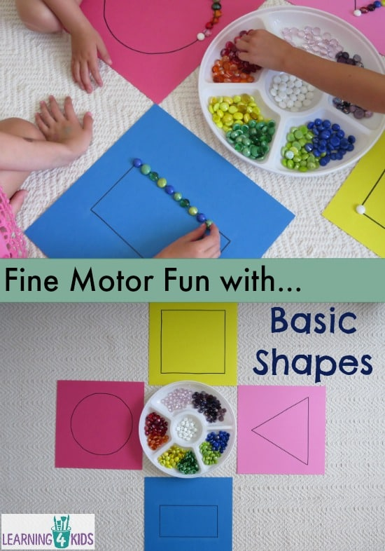 Fine motor fun with basic shapes, learning basic shapes, maths centre activity