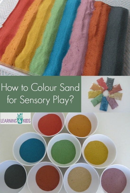 How to colour sand for sensory play, simple step by step guide.