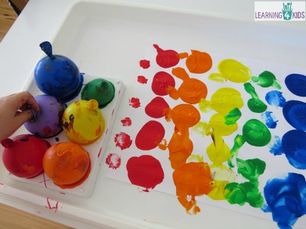 Painting with Balloons - painting ideas for kids