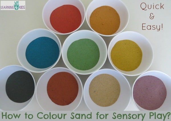 how to colour sand for sensory play activities.  Step by step guide