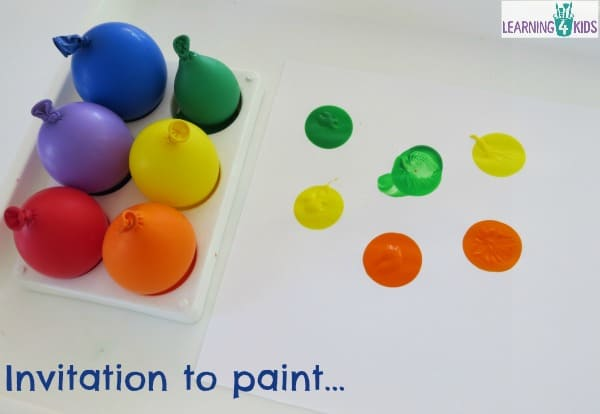invitation to paint with balloons - super fun and super simple to set up.