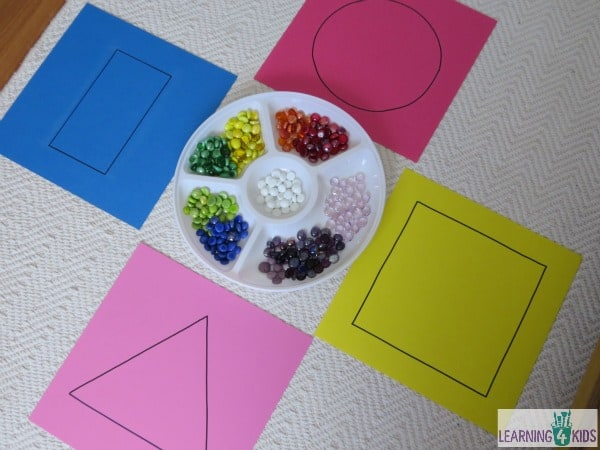 invitation to play with basic shapes - work station or math centre activity