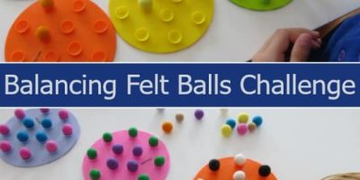 Balancing Felt Balls Challenge - fine motor activities for kids