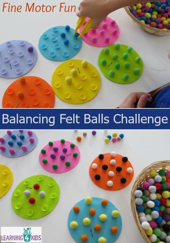 Balancing Felt Balls Challenge - fine motor activities for kids