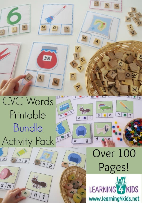 CVC Words Printable Bundle Activity Pack - over 100 pages, 8 different card sets