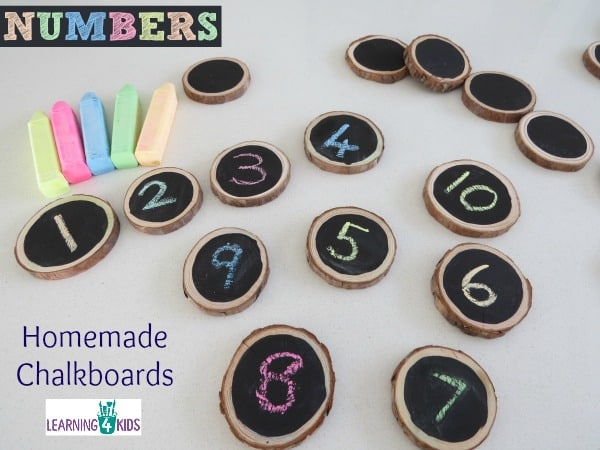 Counting, number activities using homemade chalkboards.