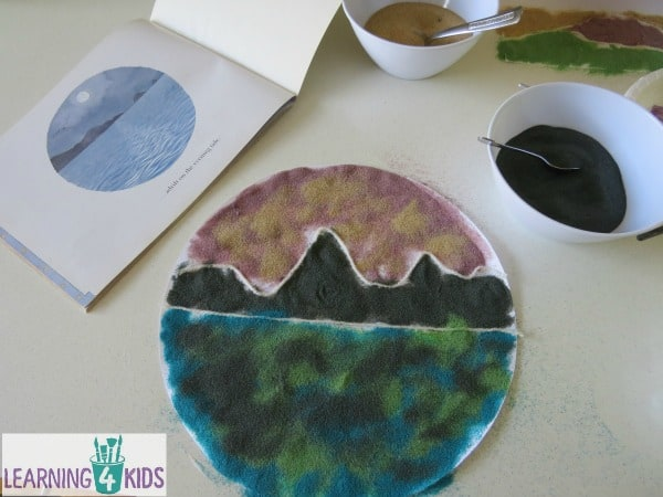 Creating Landscapes - sand art inspired by Alison Lester's story Magic Beach