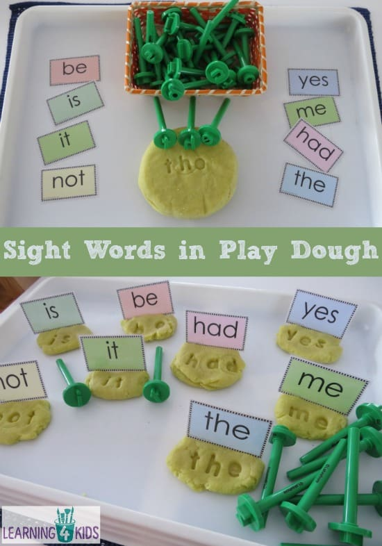Creating Sight Words in Play Dough with letter stampers - alternatively use plastic magnetic letters to make letter prints