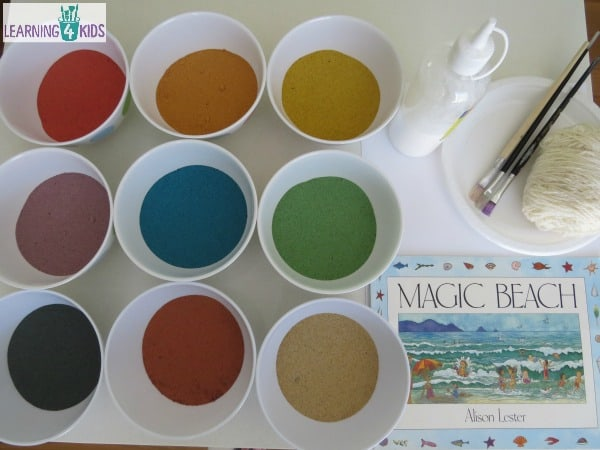Creative Sand ARt inspired by Magic Beach story by Alison Lester