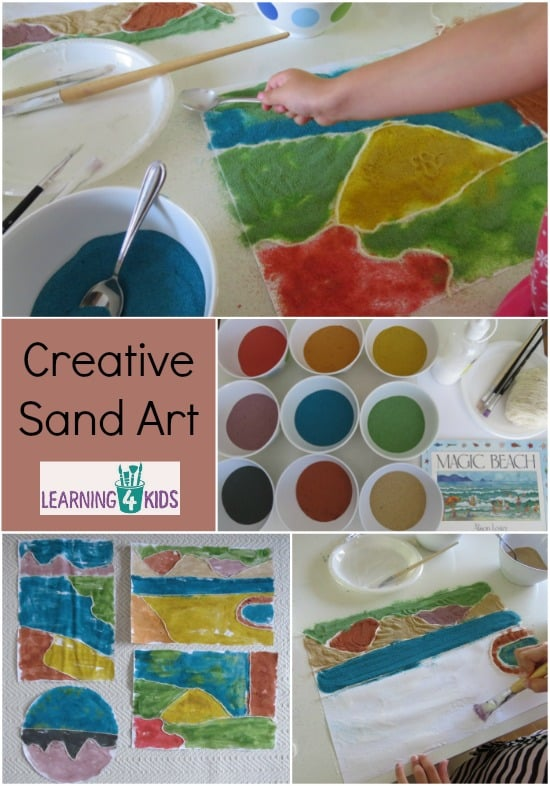 Creative Sand Art - activity inspired by the stroy Magic Bach by Alison Lester - creating landscapes with sand