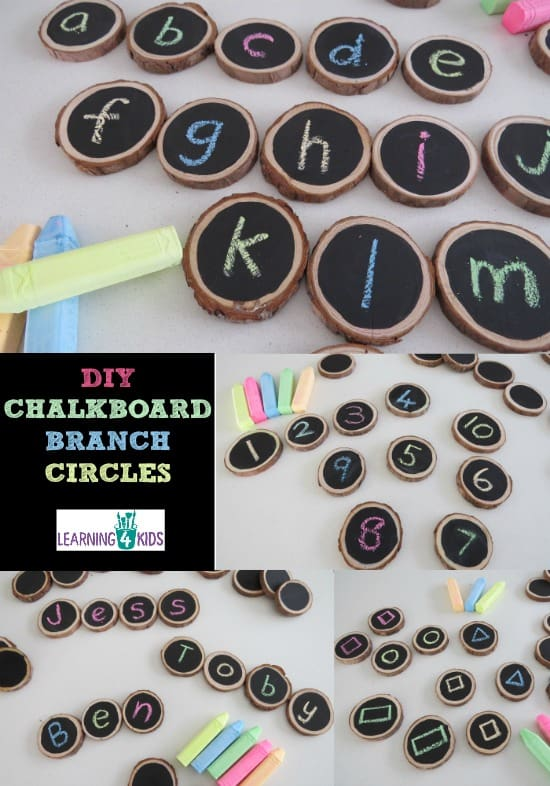 DIY Chalkboard branch circles - lots of fun activities and ideas to use them.