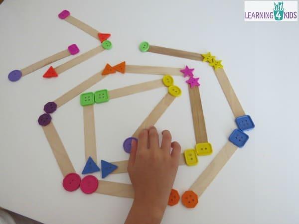 DIY homeade pop stick shape dominoes