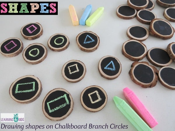 Drawing Shapes activity - homemade chalkboards