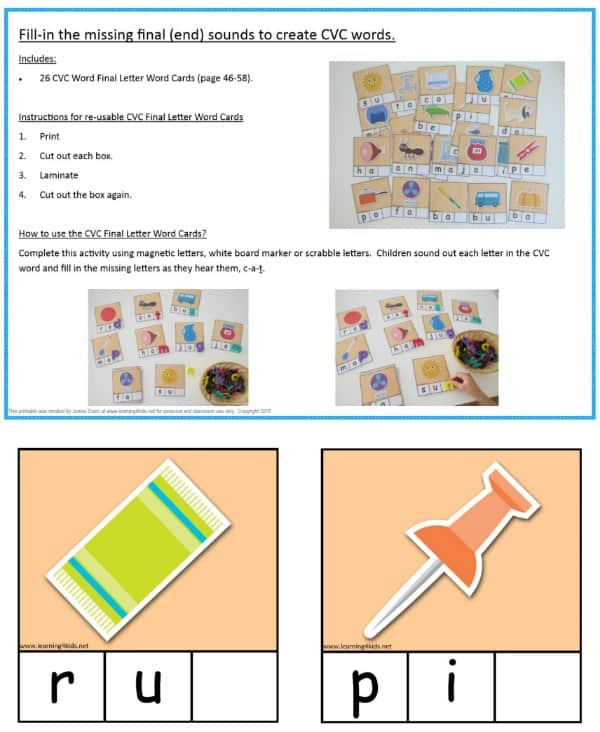 Fill-in the missing final sound CVC Word Cards - print and laminate all 26 cards