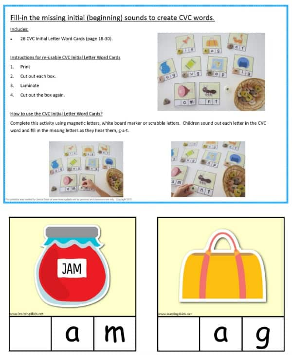 Fill in the missing initial sound CVC Word Cards.  Pack includes 26 CVC Word Cards