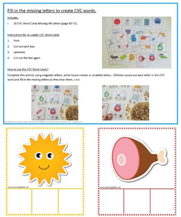 Fill in the missing letters, CVC word cards - 26 in total
