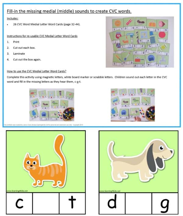 Fill in the missing medial sound CVC Cards - laminate all 26 for a re-usable teaching resource