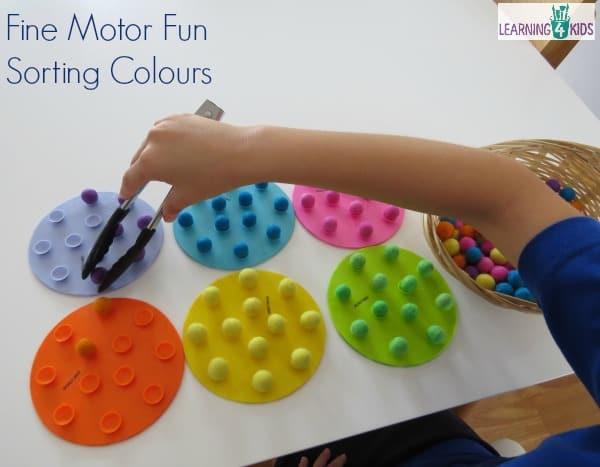 Fine motor balancing activity and sorting colours