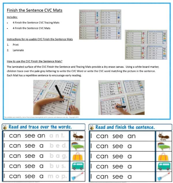 Finish the sentence CVC Mats - pack includes tracing over CVC Words and finish the sentece. CVC Words Activities