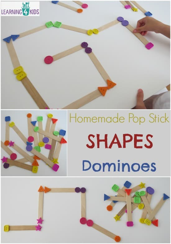 Homemade Pop Stick Shapes Dominoes - simple hands-on game for learning and playing with shapes.