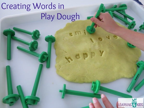 Literacy centres - creating words in play dough