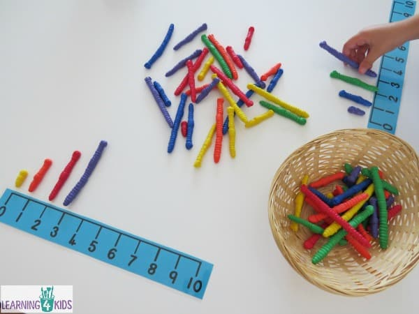Math centre or measurement work station activities