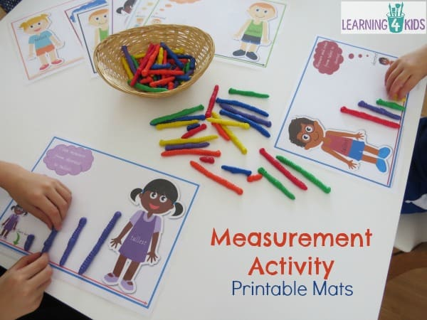 Measurement activities for work stations or maths centres with printable measurement mats